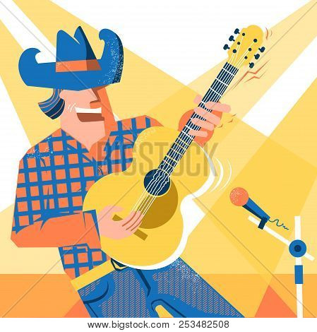 Musician Singer Man In Cowboy Hat And Jeans Style Palying The Guitar. Country Music Concert Festival