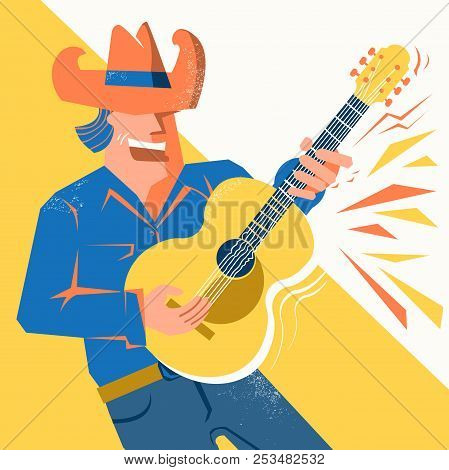 Guitar Player Man In Cowboy Hat Singing And Palying The Acoustic Guitar