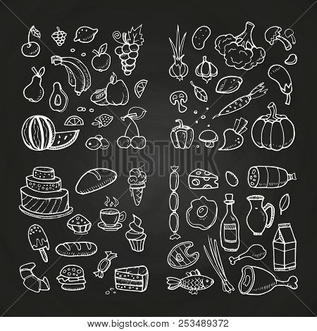 Hand Drawn Healhty And Fast Food. Doodle Vegetables, Fruits, Desserts, Meat And Diary Products. Vect