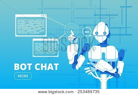 Bot Chat. Robot Supporter Chatbot Virtual Assistance Business Vector Concept. Virtual Chat Bot, Serv