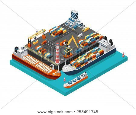 Isometric 3d Seaport Terminal With Cargo Ships, Cranes And Containers In Harbor Aerial View. Shippin