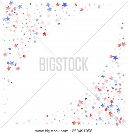 American Presidents Day Stars Background. Holiday Confetti In Usa Flag Colors For Presidents Day. Si