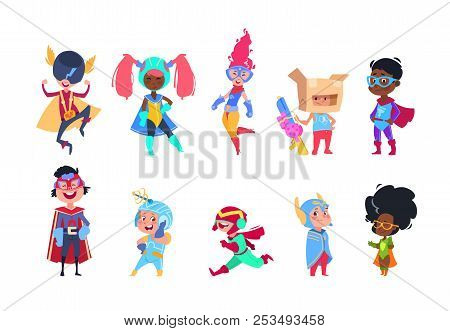 Kids Superheroes. Cartoon Superhero Children. Boys And Girls In Carnival Mask Vector Characters Set.