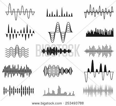 Sound Amplitude Waves. Radio Signal Symbols. Audio Music Equalizer, Voice Wave Vector Set Isolated.