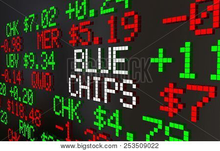 Blue Chips Large Companies Corporations Stocks Market Ticker Prices 3d Animation