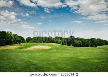 Lawn and sand bunkers for golfing on golf course