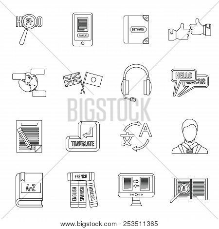 Learning Foreign Languages Icons Set In Outline Style. Language Interpreter Set Collection Illustrat