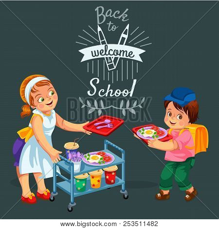 School Dinner Poster Joyous Chef Giving Out Meals On Tray To Pupils In Canteen Vector Illustration.