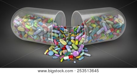 Large pill emptying a pile of colorful pills - 3d render