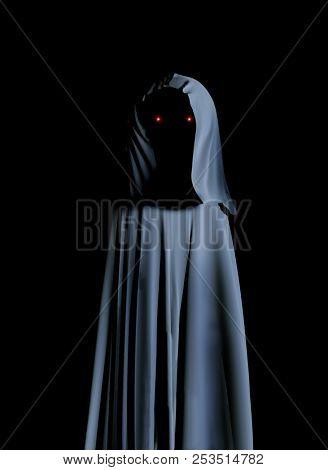 Spooky monster in hooded cloak with glowing eyes. On black background. 3d render