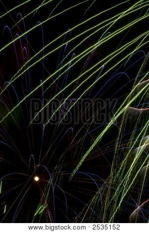 abstract blowing fireworks with black night sky poster