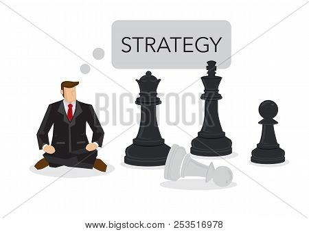 Businessman Siting On A Chess Board Thinking Of Strategy. Concept Of Strategy Management, Leadership