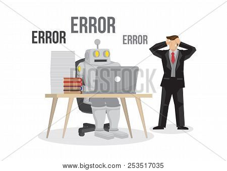Artificial Intelligence Robot Failures Broken Down Due To Overloaded. Artificial Brain Glitch And Er