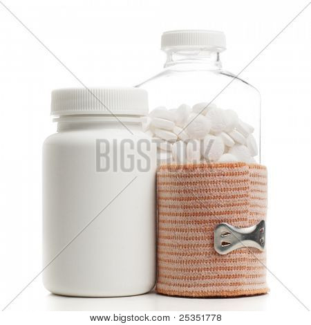 Medical supplies against a white background.