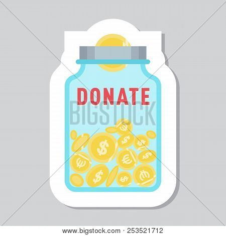 Donate Button With Glass Jar, Money Box And Dollar, Euro Sign. Help Blue Yellow Sticker. Gift Charit