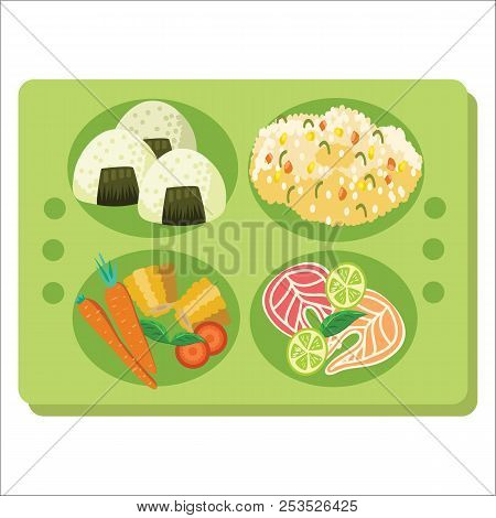 Lunch Tray Poster, Green Salver With Garnish Entree And Salad.