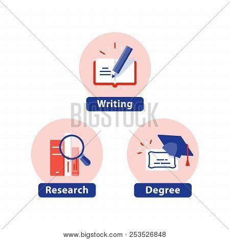 Education Flat Icons, Study Subject, University Degree, Graduation Cap, Phd Diploma, Course Certific