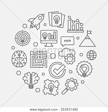 Brainstorm Round Thin Line Illustration. Vector Brainstorming Concept Linear Symbol