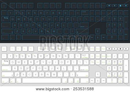 Computer Keyboard Vector Isolated. Gray And White Version