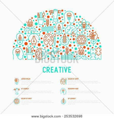 Creative Concept In Half Circle With Thin Line Icons: Generation Of Idea, Start Up, Brief, Brainstor