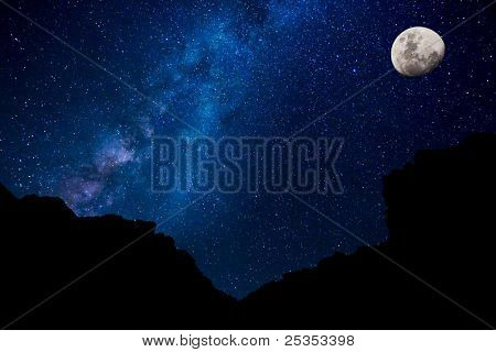 Milky Way Galaxy and Moon, Amazing Night Sky