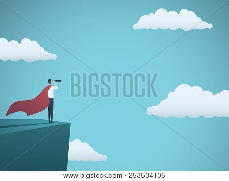 Businessman Dressed As Superhero Vector Concept. Businessman With Cape And Telescope Standing On Cli
