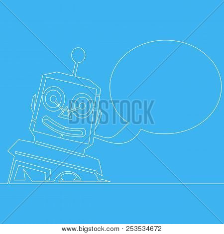 Chatbot Line Concept. Cute Bot Customer Service Robot Vector Illustration Isolated On Blue Backgroun