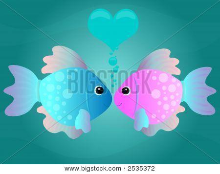 Cartoon Kissing Fish