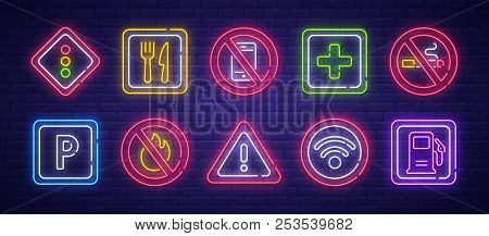 Road Sign Neon Sign, Bright Signboard, Light Banner. Cafe, No Phone, Wi-fi, Parking, Gas Station, Am