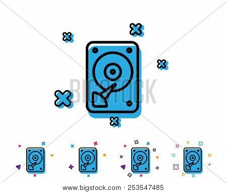 Hdd Icon. Hard Disk Storage Sign. Hard Drive Memory Symbol. Line Icon With Geometric Elements. Brigh