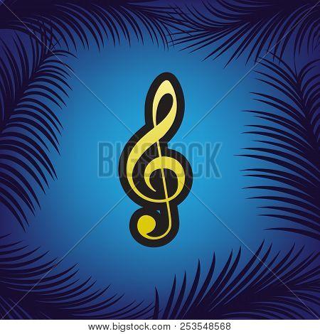 Music Violin Clef Sign. G-clef. Treble Clef. Vector. Golden Icon