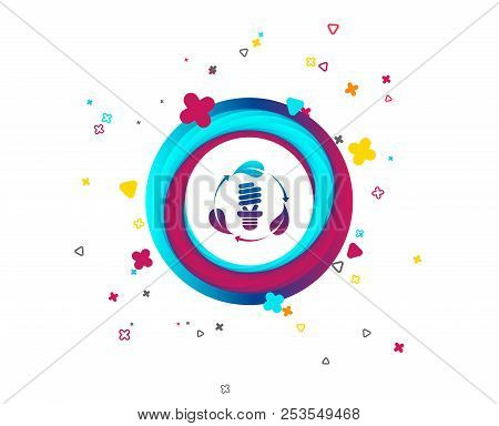 Fluorescent Lamp Bulb With Leaves Sign Icon. Energy Saving. Economy Symbol. Colorful Button With Ico