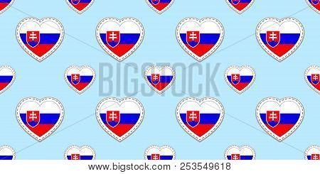 Slovakia Flags Background. Slovak Flag Seamless Pattern. Vector Stikers. Love Hearts Symbols. Good C