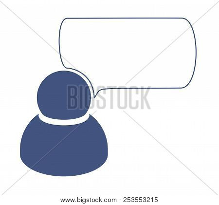 One Human Person Man Icon Saying Talking Speech Blue White Background
