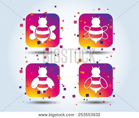 Honey Bees Icons. Bumblebees Symbols. Flying Insects With Sting Signs. Colour Gradient Square Button