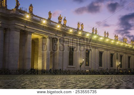 Saint Peter`s Square In The Evening In The Vatican, Italy