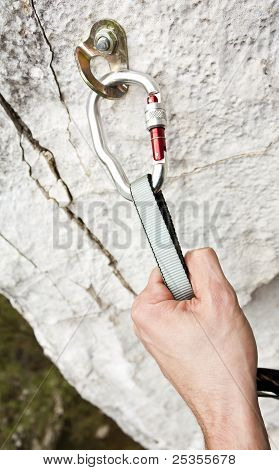 Climbing carabiner on rock wall, be safe poster
