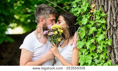 Man Bearded Hipster Kisses Girlfriend. Secret Romantic Kiss. Moment Of Intimacy. Couple In Love Hidi