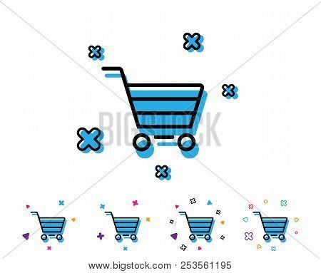 Shopping Cart Line Icon. Online Buying Sign. Supermarket Basket Symbol. Line Icon With Geometric Ele