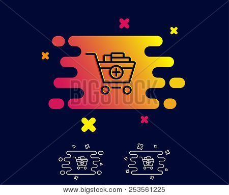 Add To Shopping Cart Line Icon. Online Buying Sign. Supermarket Basket Symbol. Gradient Banner With