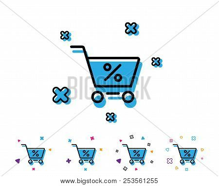 Shopping Cart With Percentage Line Icon. Online Buying Sign. Supermarket Basket Symbol. Line Icon Wi