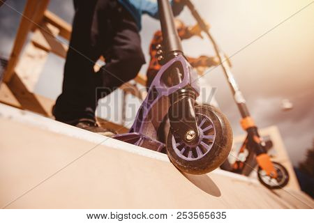 Close-up Wheel From Scooter For An Extreme Ride On Ramp And Springboards. Concept Teenagers Sport, B