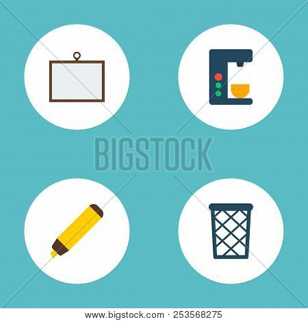 Set Of Bureau Icons Flat Style Symbols With Desk, Wastebasket, Coffee Maker And Other Icons For Your