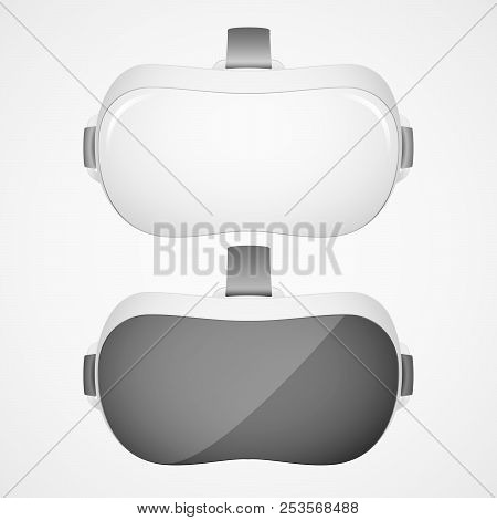 Two Vr Virtual Reality Headsets In Black And White Olor. Realistic Virtual Reality Headset Glasses.