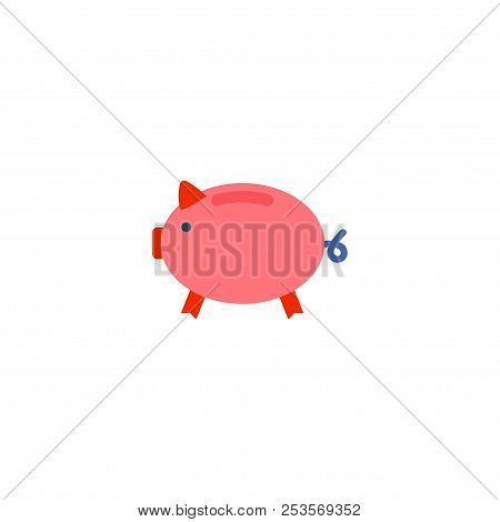 Piggy Bank Icon Flat Element. Vector Illustration Of Piggy Bank Icon Flat Isolated On Clean Backgrou