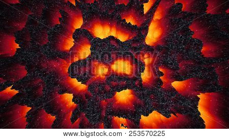 Red-hot Lava Magma Colorful Background, Abstract 3d Illustration Dark Matter, Way To Hell, Halloween