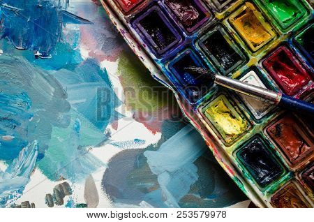Artist Paint Brush And Watercolor Paintbox. Instruments And Tools For Creative Leisure. Creative Bac