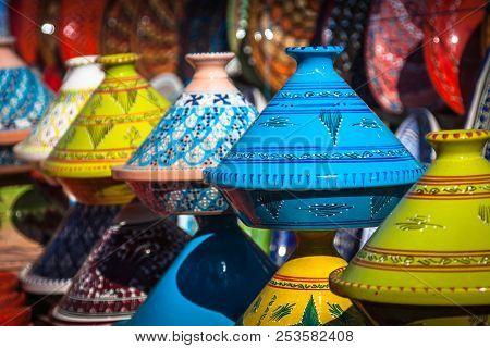 Tajines In The Traditional Moroccan Market  Marrakesh.