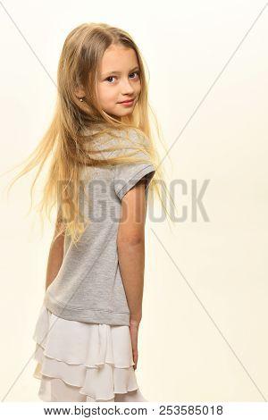 Fashion Model. Happy Fashion Model Isolated On White. Fashion Model Pose In Studio. Fashion Model In