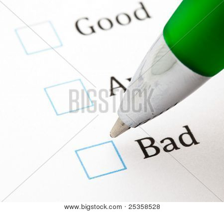 quality questionnaire and pen, extreme closeup photo